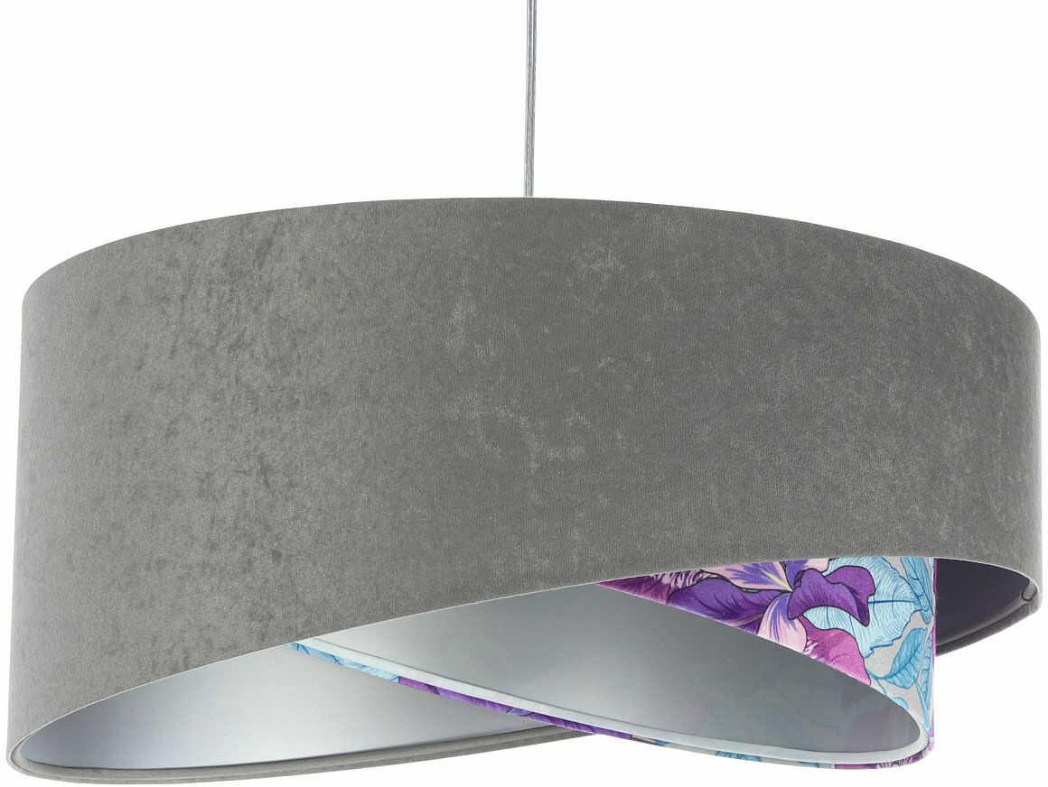 Szaro-fioletowa lampa wisząca z weluru - EXX06-Brezi
