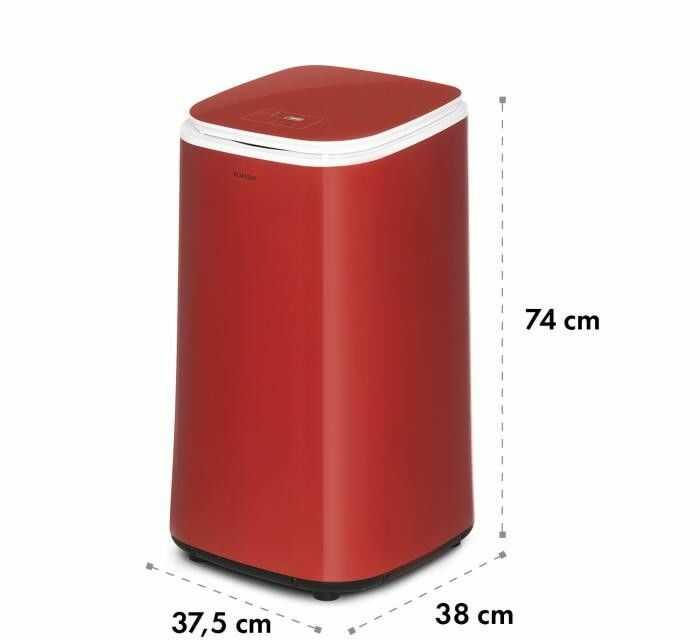 Klarstein Zap Dry, suszarka na pranie, 820 W, 50 l, dotykowy panel sterowania, wyświetlacz LED, czerwona