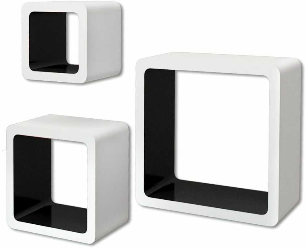 Zestaw biało-czarnych półek ściennych - Luca 2X