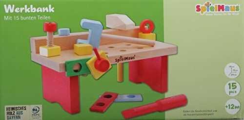 Spielmaus drewniany stół warsztatowy 15-częściowy 29x14x13cm
