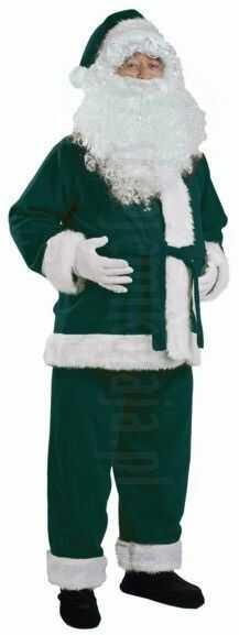 Ciemnozielony strój Mikołaja - kurtka, spodnie i czapka