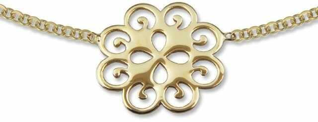 Naszyjnik ze złota - celebrytka z ażurowym motywem kwiatu - model 23