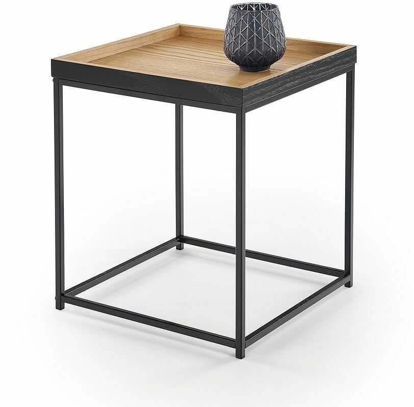 Stolik kwadratowy TROPI dąb naturalny-czarny