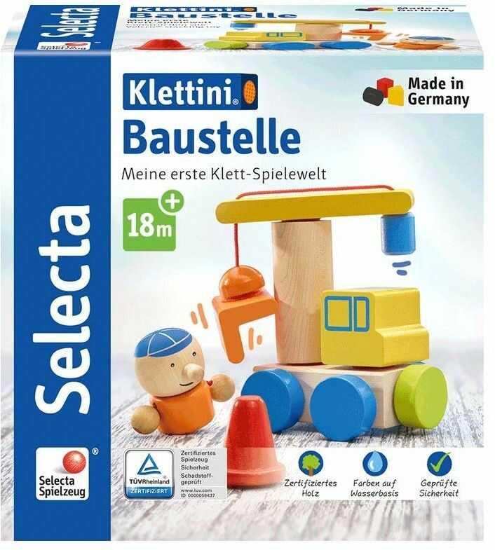 Selecta 62075 Klettini Baustelle, zabawka do układania, z drewna, 8 części