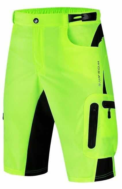 WOSAWE BL132-G męskie szorty rowerowe MTB bez wkładki, fluor żółty Rozmiar: XL,BL132-G