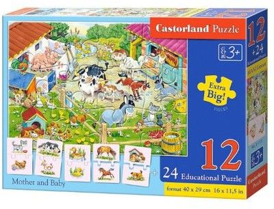 Puzzle Castor 12+24 - Mamy i dzieci, Mother and Baby