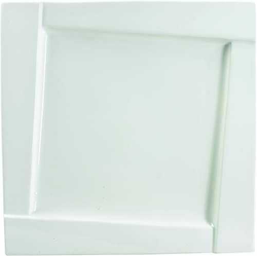 Dajar AMBITION talerz deserowy sześcienny, 16,5 cm, kwadratowy, ze szkła hartowanego, talerz obiadowy, porcelana, talerz płaski, zestaw talerzy do ciasta, nowoczesny elegancki, biały
