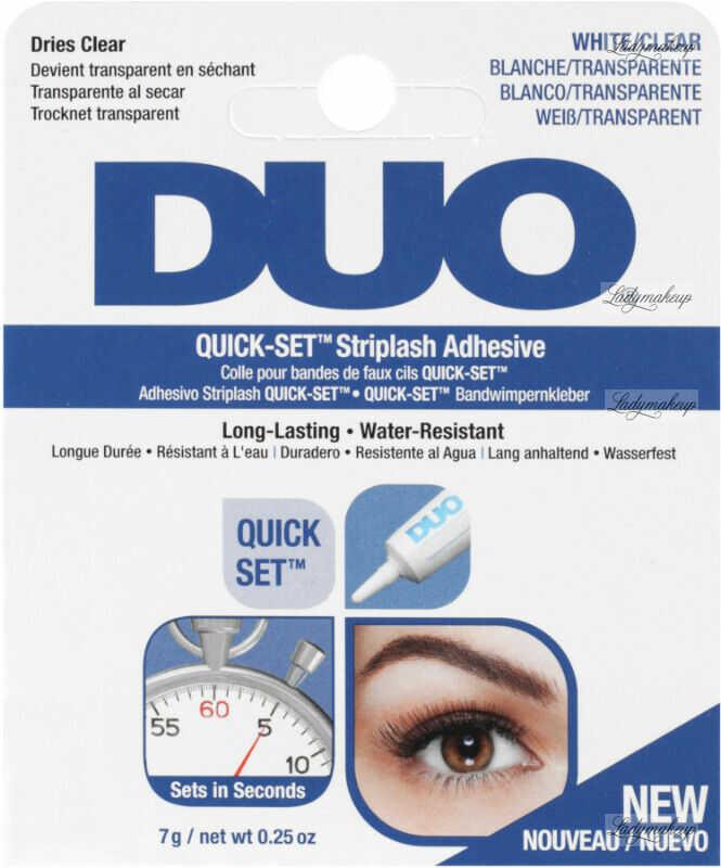 DUO - QUICK-SET Striplash Adhesive - Klej do rzęs i kępek - 7 g - CLEAR-WHITE