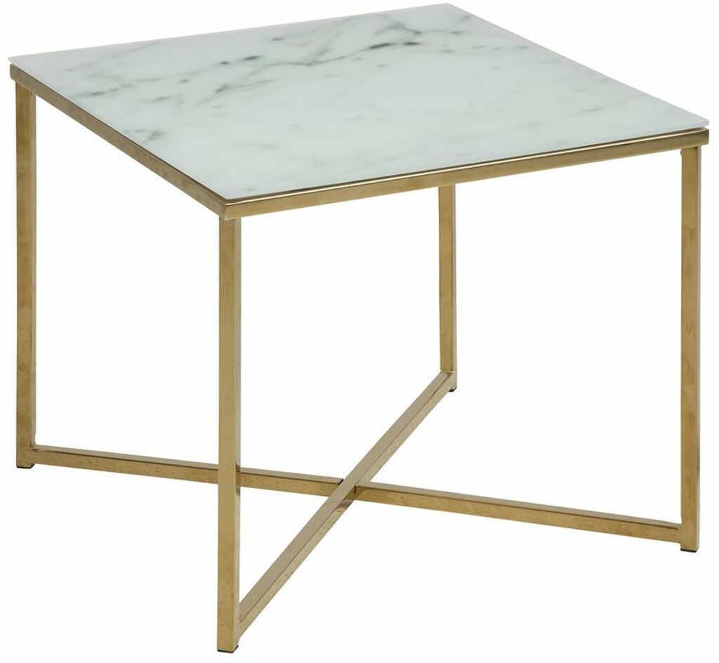 Kwadratowy stolik kawowy Alisma white / golden