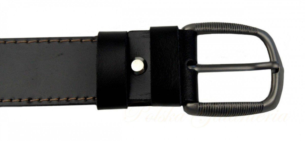Pasek Skórzany Gładki COMPLEX (PL) Czarny Z Beżową Nitką 35 mm