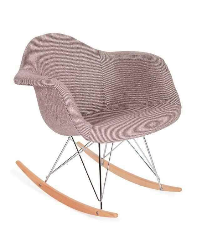 Fotel bujany PLUSH zebra beżowa - tkanina, płozy bukowe