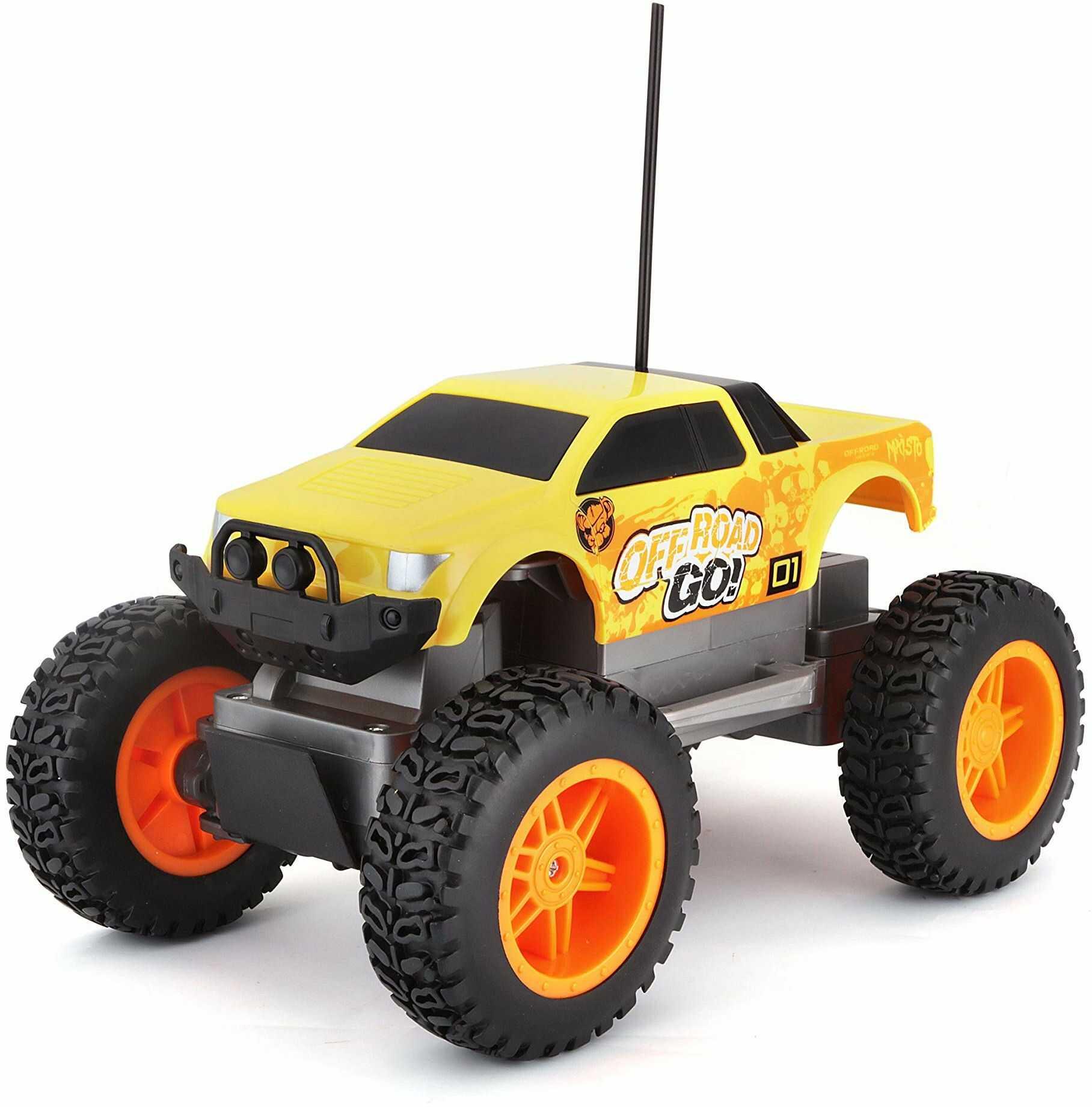 Maisto Tech R/C Off Road Go RTR: zdalnie sterowany samochód w wersji Monstertruck, od 5 lat, z pilotem zdalnego sterowania i bateriami, 21 cm, żółto-pomarańczowy (581762)