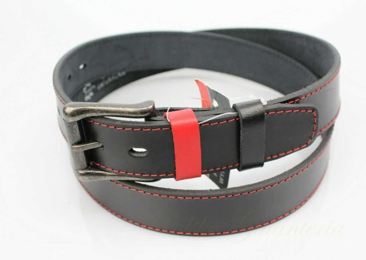 Pasek Skórzany Gładki COMPLEX (PL) Czarny Z Czerwoną Nitką 35 mm