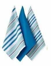 Bawełniane ręczniki kuchenne Ladelle - Oasis niebieskie - komplet 3 szt.
