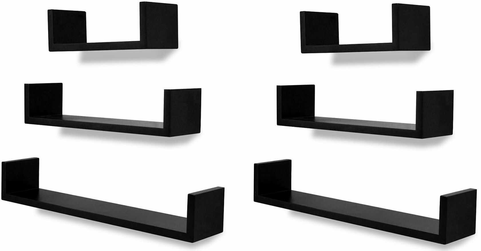 Zestaw funkcjonalnych półek ściennych Baffic 4X - czarny