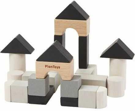Czarne klocki drewniane 24 el., PLTO-4129, zabawki konstrukcyjne