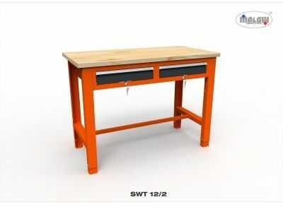Stół narzędziowy SWT 12/02 ''DWÓJKA'' do warsztatu blat drewniany