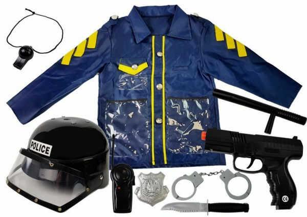 Strój Zestaw Policjant Przebranie Kostium dla Dziecka Kask Pistolet Kajdanki Krótkofalówka Pałka Policyjna