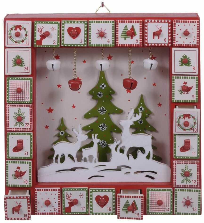 Blancs Dino xsd090_50 kalendarz adwentowy z dzwonkami, drewno, wielokolorowy, 21 x 27 x 5,5 cm