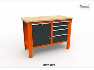 Stół narzędziowy SWT 12/04 ''DWÓJKA'' do warsztatu blat drewniany