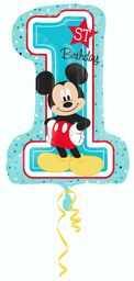 Amscan 10022935 17,8 x 26,7 x 0,5 cm Disney Mickey & Przyjaciele Myszka Miki Pierwsze urodziny Balon foliowy, niebieski, jeden rozmiar