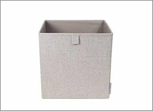 Bigso Box of Sweden Pudełko na kostki do regału lub szafy  duże pudełko do przechowywania ubrań, zabawek, artykułów biurowych itd.  składane pudełko regałowe z poliestru i kartonu  beżowe