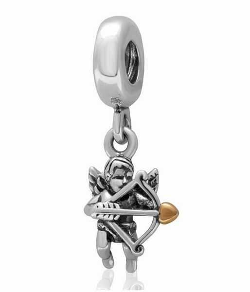 Rodowany srebrny wiszący charms do pandora anioł miłości kupidyn srebro 925 PAS274