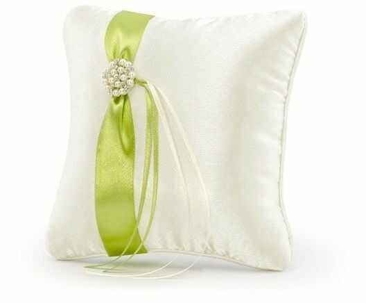 Poduszka pod obrączki z zieloną wstążką 20x20cm PKW14