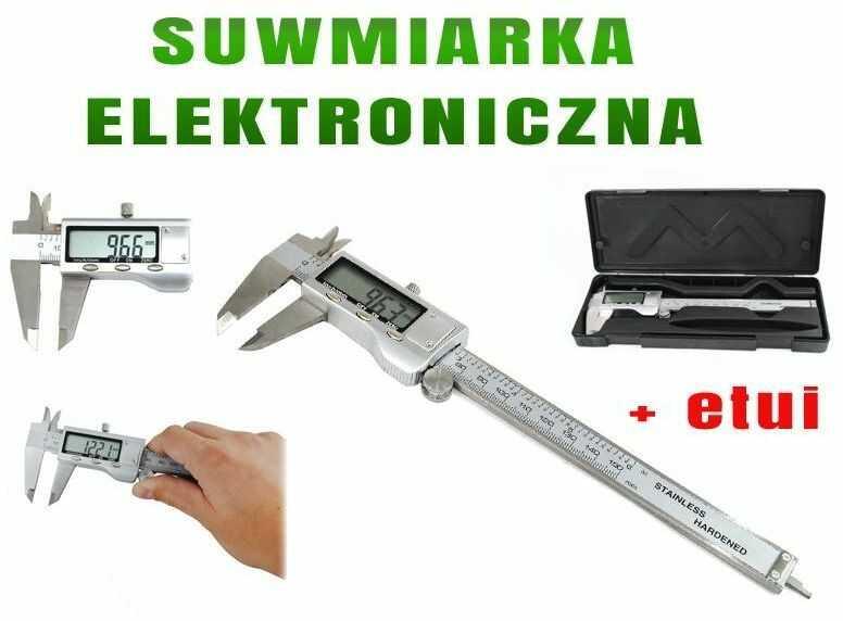 Profesjonalna Metalowa Elektroniczna Suwmiarka z Ekranem LCD + Etui Ochronne.