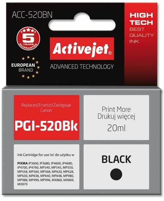 Tusz Activejet ACC-520BN (zamiennik Canon PGI-520BK; Supreme; 20 ml; czarny)