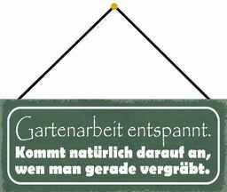 Schatzmix Praca ogrodowa, relaksująca tabliczka metalowa 27 x 10 cm Deko tin Sign ze sznurkiem, blaszana tabliczka, wielobarwna, 27 x 10 cm