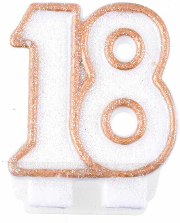 Świeczka na 18-tkę z brokatem i różowo-złotą obwódką - 1 szt.