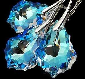 Najnowsze Kryształy Kolczyki+Wisiorek Srebro Blue