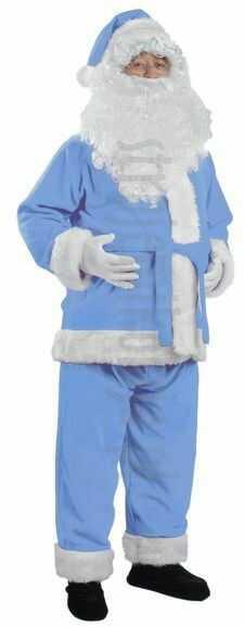 Błękitny strój Mikołaja - kurtka, spodnie i czapka