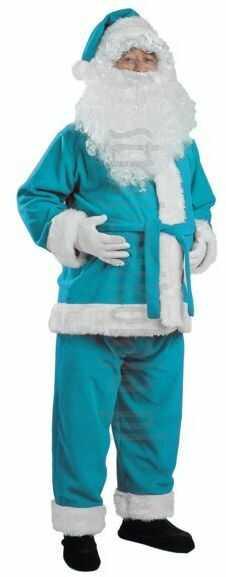 Turkusowy strój Mikołaja - kurtka, spodnie i czapka