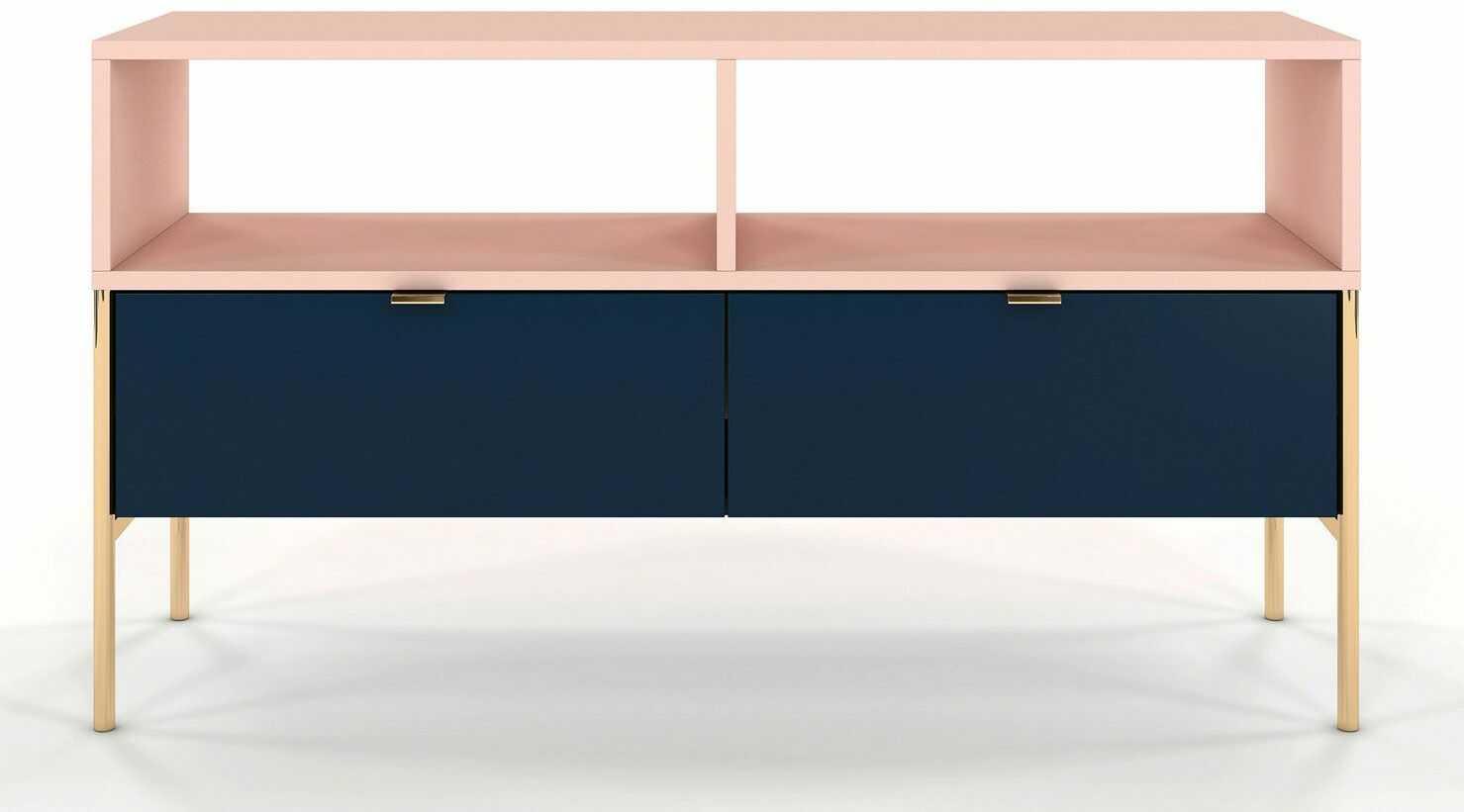 Szafka RTV w stylu glamour Perilla 2X - Granat-Róż