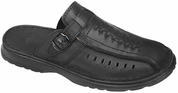Klapki ŁUKBUT 954 Czarne Buty męskie