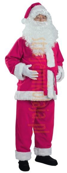 Ciemnoróżowy strój Mikołaja - kurtka, spodnie i czapka