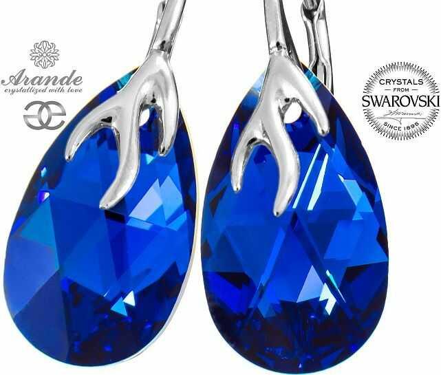 NOWE SWAROVSKI piękne ozdobne kolczyki BLUE COMET SREBRO