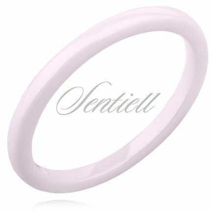 Pierścionek obrączka z ceramiki 2mm różowa