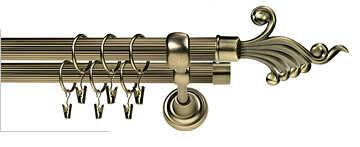 Karnisz FANTAZJA RYFEL 25/25mm antyk mosiądz