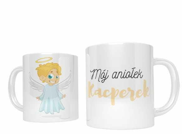 Kubek ceramiczny z aniołkiem, spersonalizowany