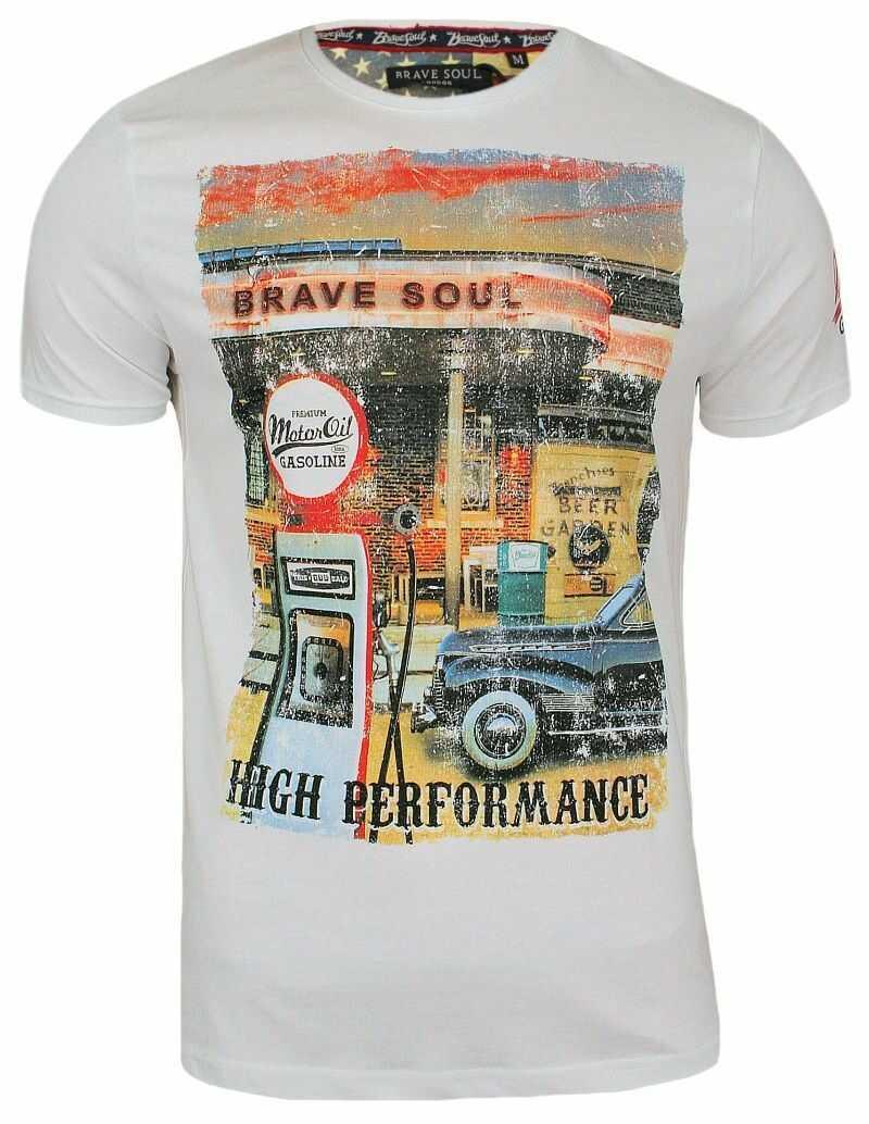 T-Shirt męski (koszulka) - Brave Soul - Biała, Stara Stacja Benzynowa TSBRSSS18GASOLINEwhite