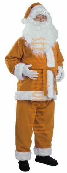 Jasnobrązowy strój Mikołaja - kurtka, spodnie i czapka