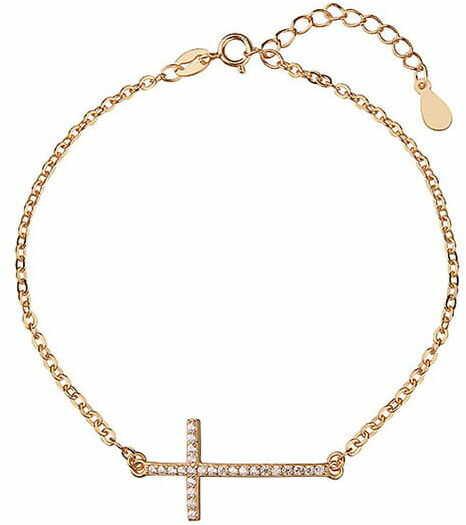 Bransoletka celebrytek pr. 925 krzyżyk z cyrkoniami, złocona