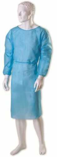 Fartuch medyczny podfoliowany z mankietem, barierowy - niebieski