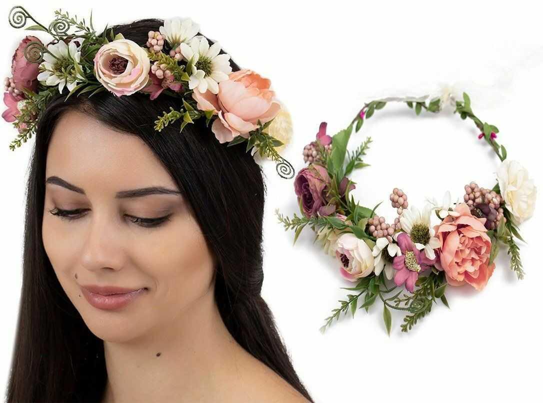 Wianek na głowę boho kwiaty ślubny rustykalny