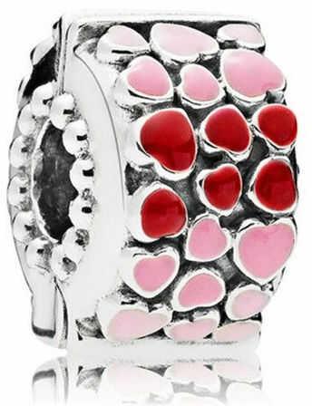 Rodowany srebrny charms do pandora otwierany klips serce heart srebro 925 QS0657