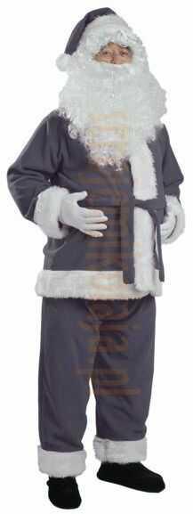 Szary strój Mikołaja - kurtka, spodnie i czapka
