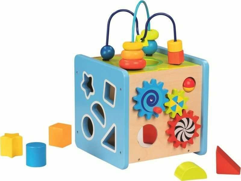 Drewniana kostka edukacyjna z pętlą motoryczną Wszystko w ruchu 58735-Goki, zabawki rozwojowe